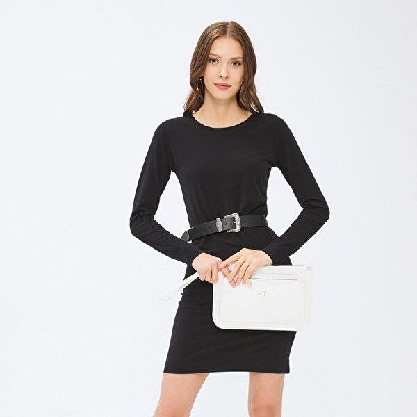 Deri Company Kadın Basic Clutch Çanta Kroko Timsah Desen Beyaz 214003
