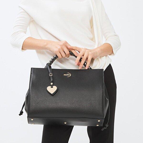 Deri Company Kadın Basic El ve Omuz Çantası Çizgili Dokulu Desenli Siyah Gri Örgü Saplı Siyah (4035SG) 214038