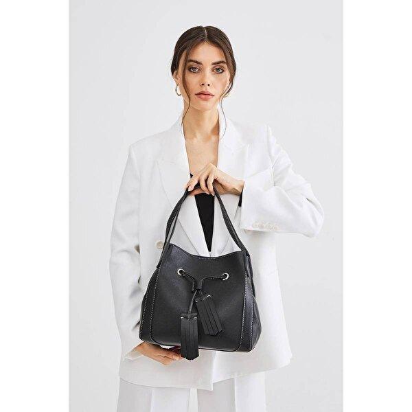 Deri Company Kadın Basic Omuz Çantası Düz Desenli Siyah (4026S) 214027