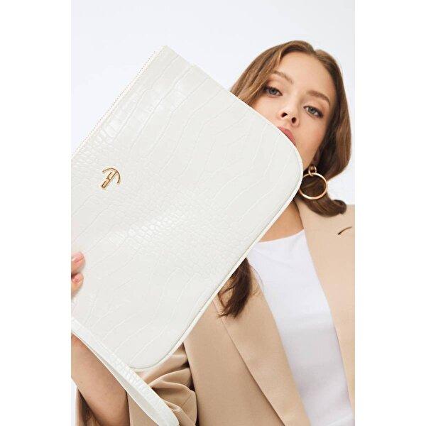 Deri Company Kadın Basic Clutch Çanta Kroko Timsah Desen Beyaz 214002