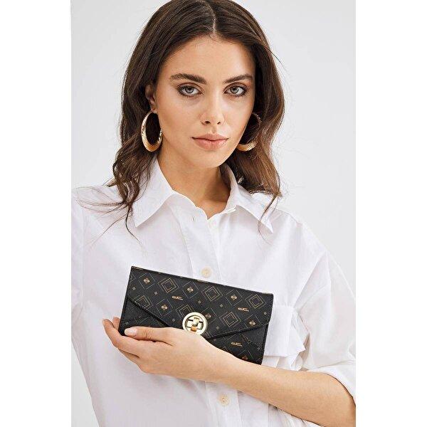 Deri Company Kadın Basic Cüzdan Monogram Desenli Kilitli Siyah Taba (8014ST) 213007