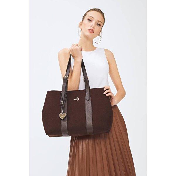 Deri Company Kadın Basic El ve Omuz Çantası Süet Kahverengi 214039