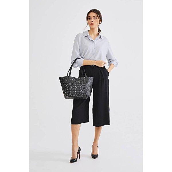Deri Company Kadın Basic Omuz Çantası Monogram Desenli Logolu Siyah Gri (4008SG) 214014