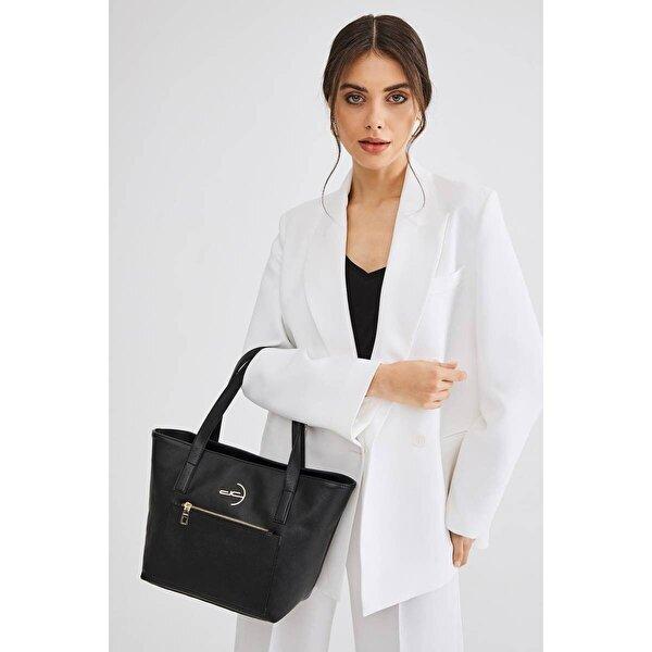 Deri Company Kadın Basic Omuz Çantası Düz Desenli Logolu Siyah (4013S) 214018