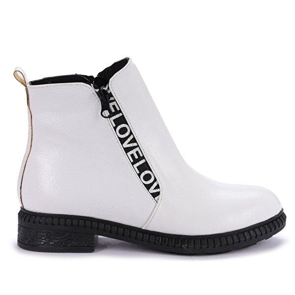 Ayakland N901-07 Kırık Rugan Termo Taban Kadın Bot Ayakkabı BEYAZ