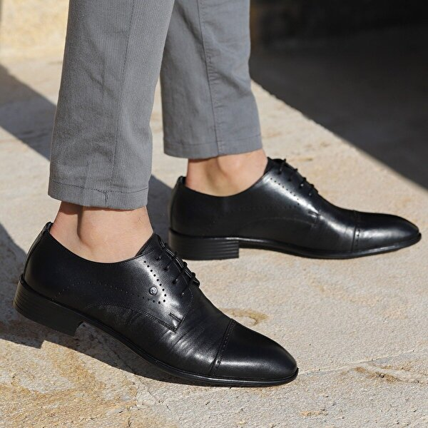 Ayakland P201 Kırışık Deri %100 Deri Klasik Erkek Ayakkabı SİYAH