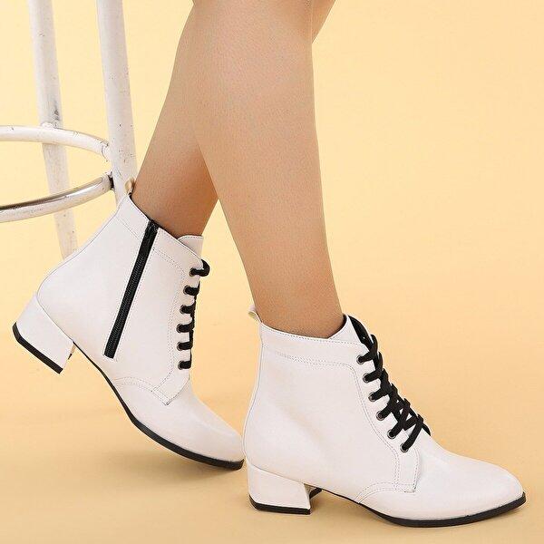 Ayakland 6762-2114 Cilt Fermuarlı Termo Kadın Bot Ayakkabı BEYAZ