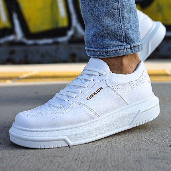 Chekich CH075 İpekyol Beyaz Taban Erkek  Sneaker Ayakkabı BEYAZ