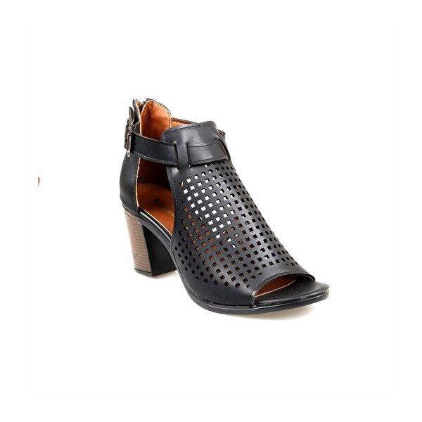 NELMODA Bayan Yazlık Siyah Kafes Ayakkabı