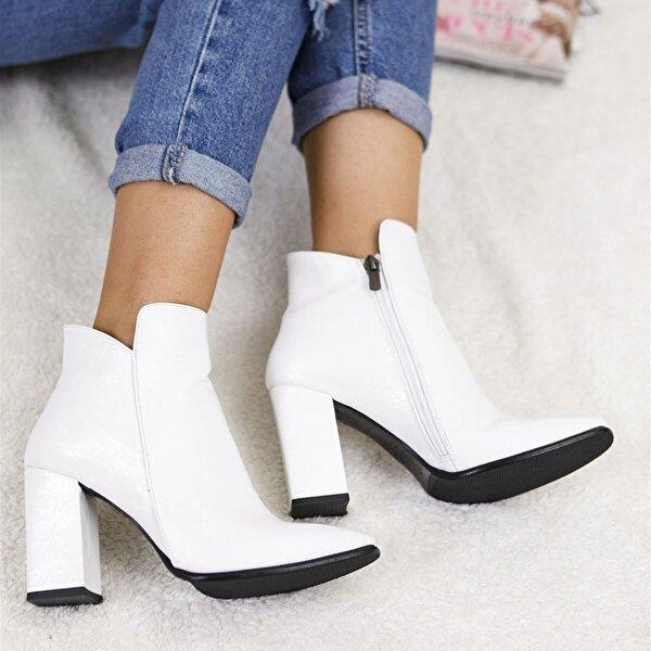 Tuğrul Ayakkabı Topuklu Beyaz Kadın Bot