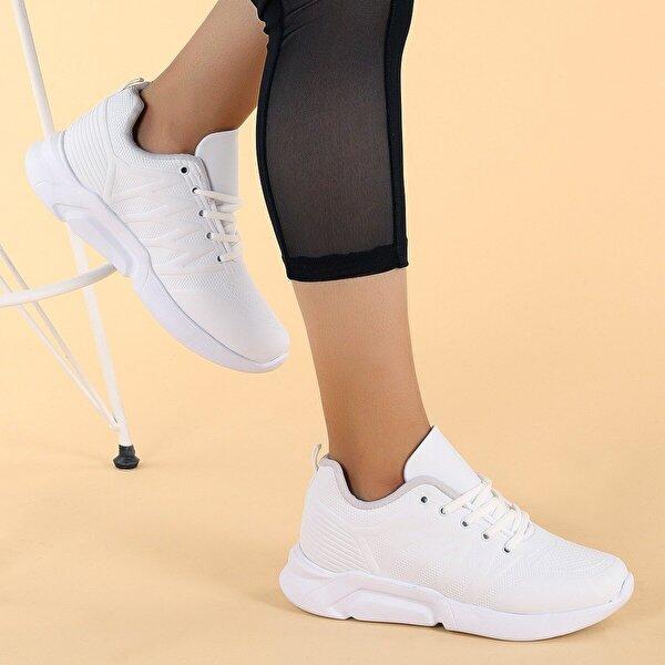 Woggo 2225 Günlük Bağcıklı Kadın Spor Ayakkabı BEYAZ