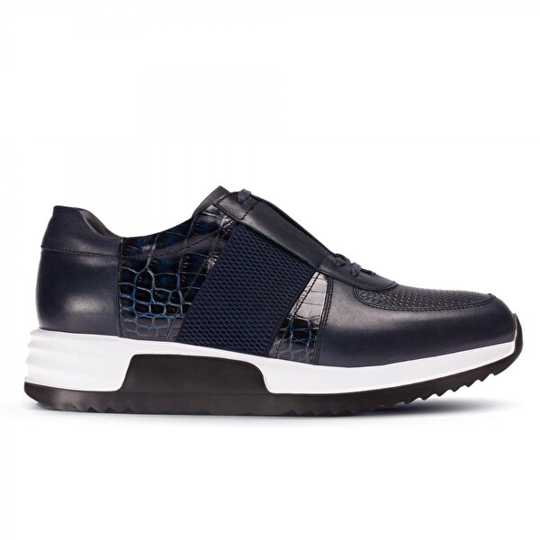 Deery Hakiki Deri Lacivert Özel Üretim Spor Erkek  Sneaker Ayakkabı