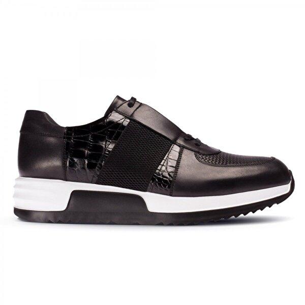Deery Hakiki Deri Siyah Özel Üretim Spor Erkek  Sneaker Ayakkabı