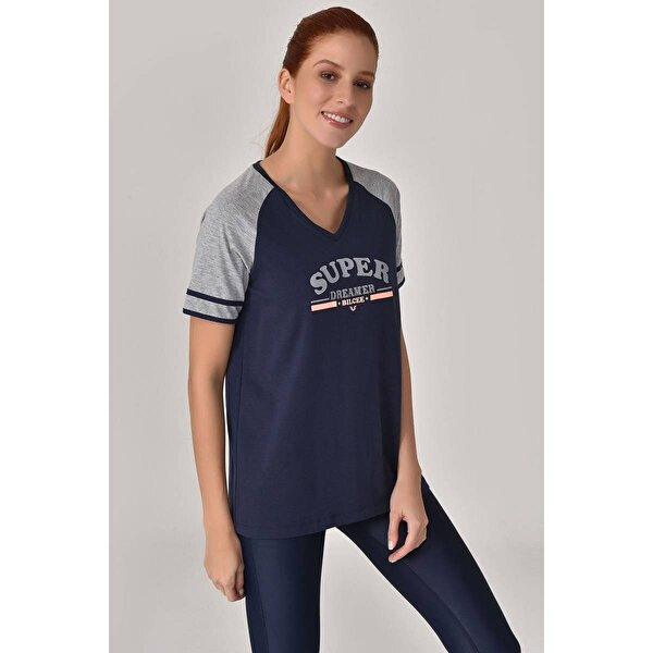 Bilcee Lacivert Kadın T-Shirt GS-8616