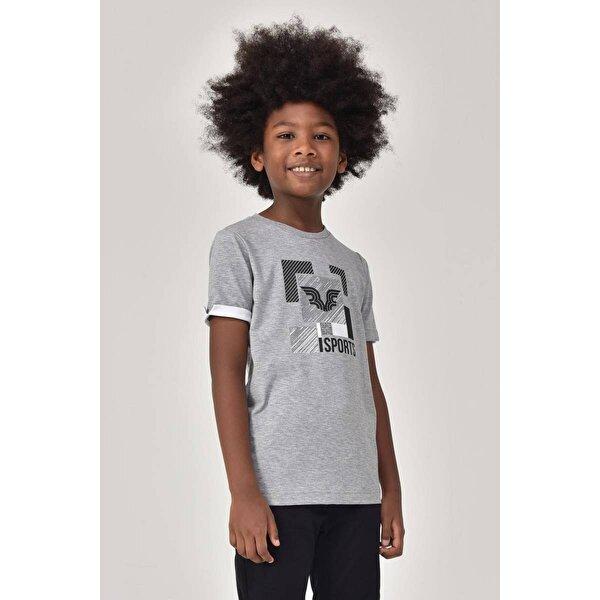 Bilcee Gri Erkek Çocuk T-Shirt GS-8194
