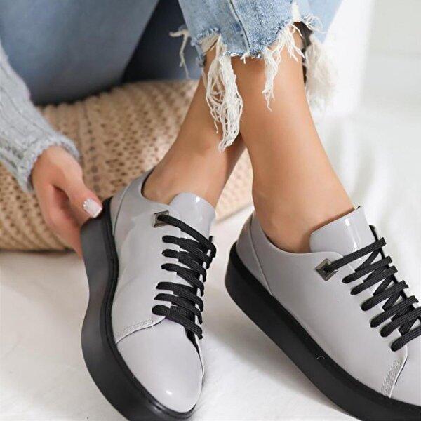 Limoya Jaylin Gri Mat Rugan Bağcıklı Casual Günlük Ayakkabı