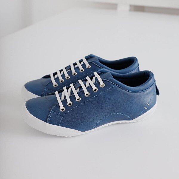 Limoya Joanna Lacivert Hakiki Deri Bağcıklı Casual Ayakkabı