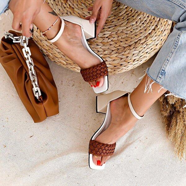 Limoya Nuvo Ten Beyaz Taba Örgülü Alçak Topuklu Sandalet