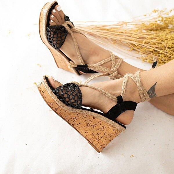 Limoya Rebecca Örgü Bantlı Hasır Bağlamalı Dolgu Topuklu Sandalet