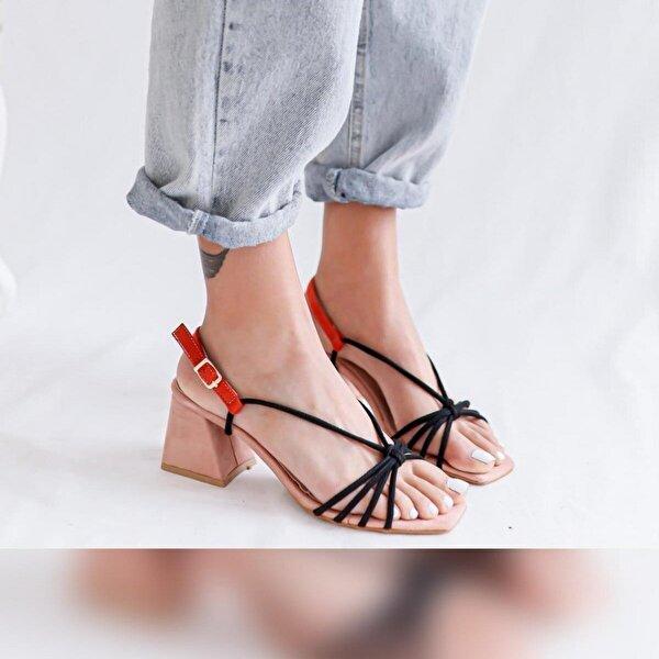 Limoya Frida Pudra Siyah Portakal Süet Alçak Topuklu Sandalet