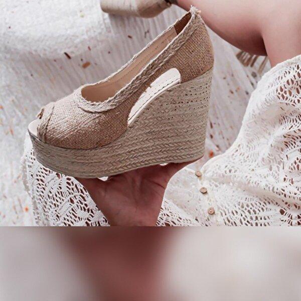 Limoya Bexley Keten Dolgu Topuklu Sandalet
