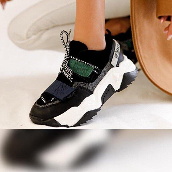 Limoya Avalynn Siyah Laci Yeşil Cırtlı ve Bağcıklı Casual Sneakers