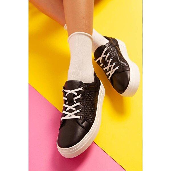 Jilberto Hakiki Deri Jazlynn Siyah Yılan Detaylı Sneakers