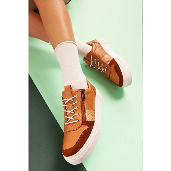 Jilberto Hakiki Deri Phoenix Taba Yılan Detaylı Sneakers