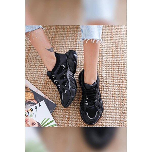 Limoya Kendall Siyah Gümüş Bağcıklı Yüksek Tabanlı Sneakers
