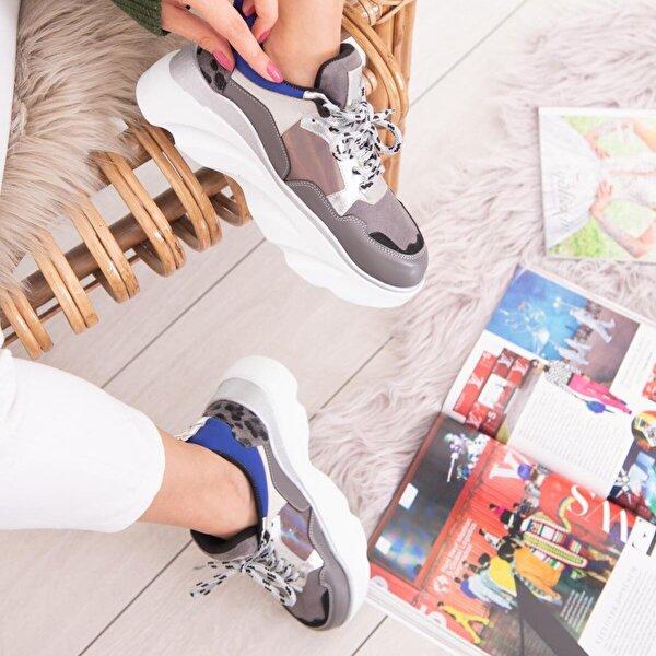 Limoya Nova Gri Saks Leopar Detaylı Kalın Tabanlı Sneakers