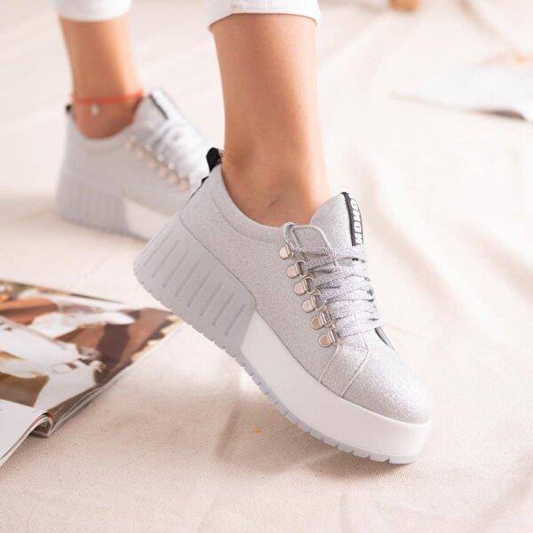 Limoya Sage Gümüş Simli Bağcıklı Yüksek Tabanlı Casual Sneakers