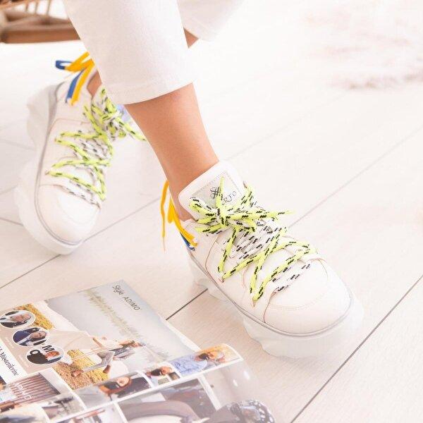 Limoya Saturn Beyaz Beyaz Tabanlı Arka Bağcık Detaylı Sneakers