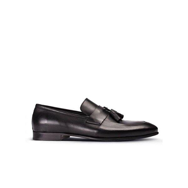 Deery Hakiki Deri Siyah Erkek Püsküllü Loafer