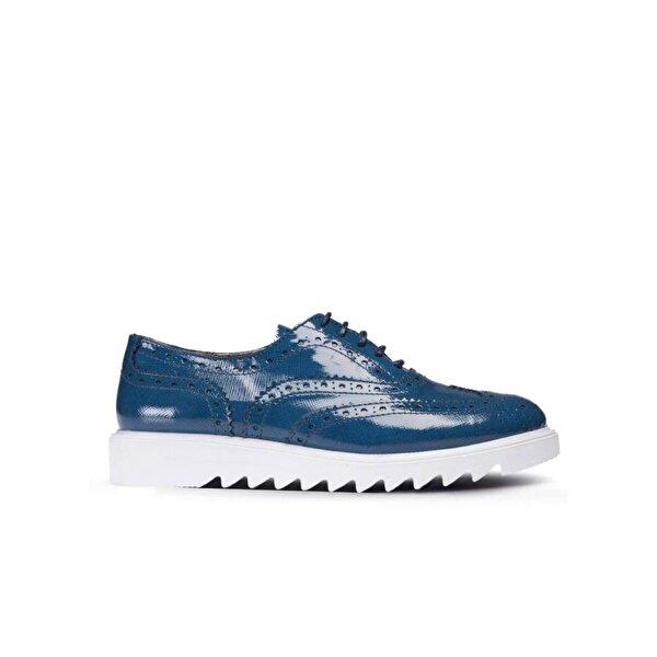 Deery Hakiki Rugan Mavi Günlük Kadın Ayakkabı