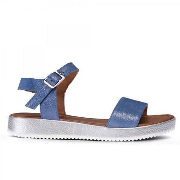 Deery Hakiki Deri Simli Mavi Kadın Sandalet