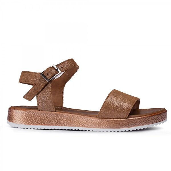 Deery Hakiki Deri Taba Rengi Simli Kadın Sandalet