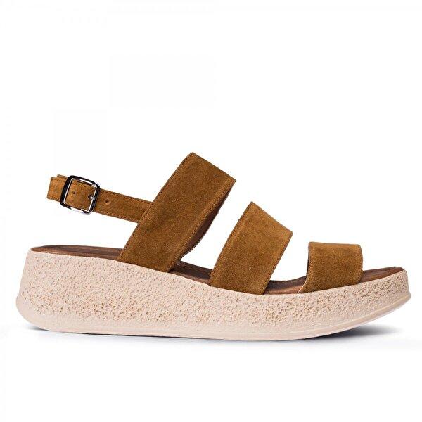 Deery Hakiki Süet Taba Rengi  Kadın Sandalet