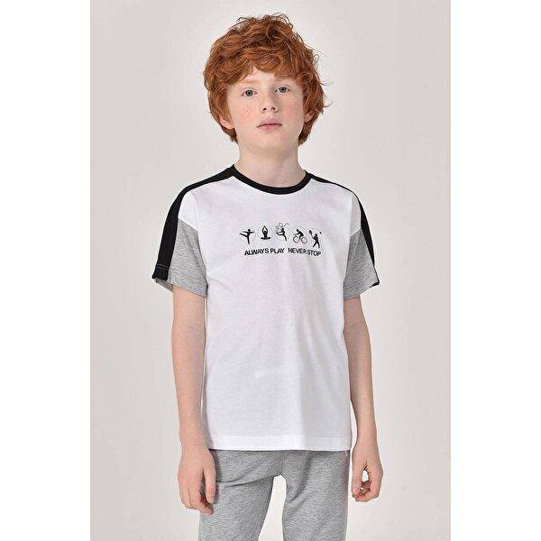 Bilcee Beyaz Erkek Çocuk T-Shirt GS-8178