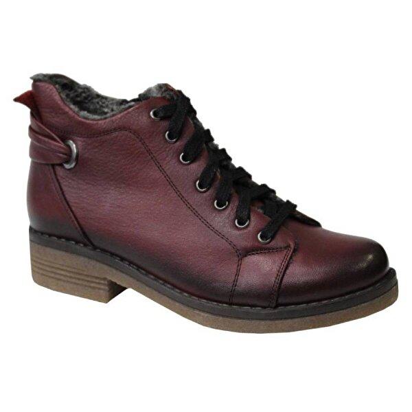 Mehmet Mete 0826 Bordo Hakiki Deri Bayan Ayakkabı Bot