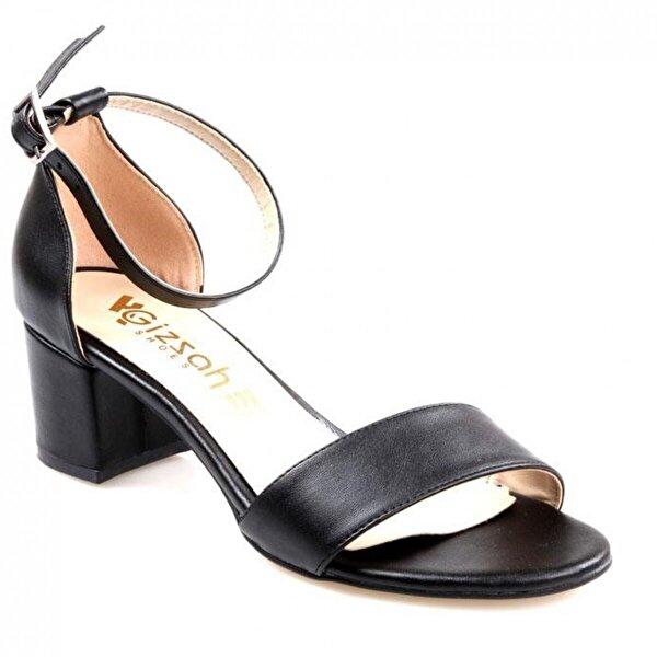 GİZSAH Gizzah 5,5 Cm Topuk Bayan Tek bant Siyah Ayakkabı