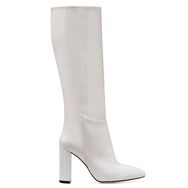 Nine West MIMA Beyaz Kadın Ökçeli Çizme