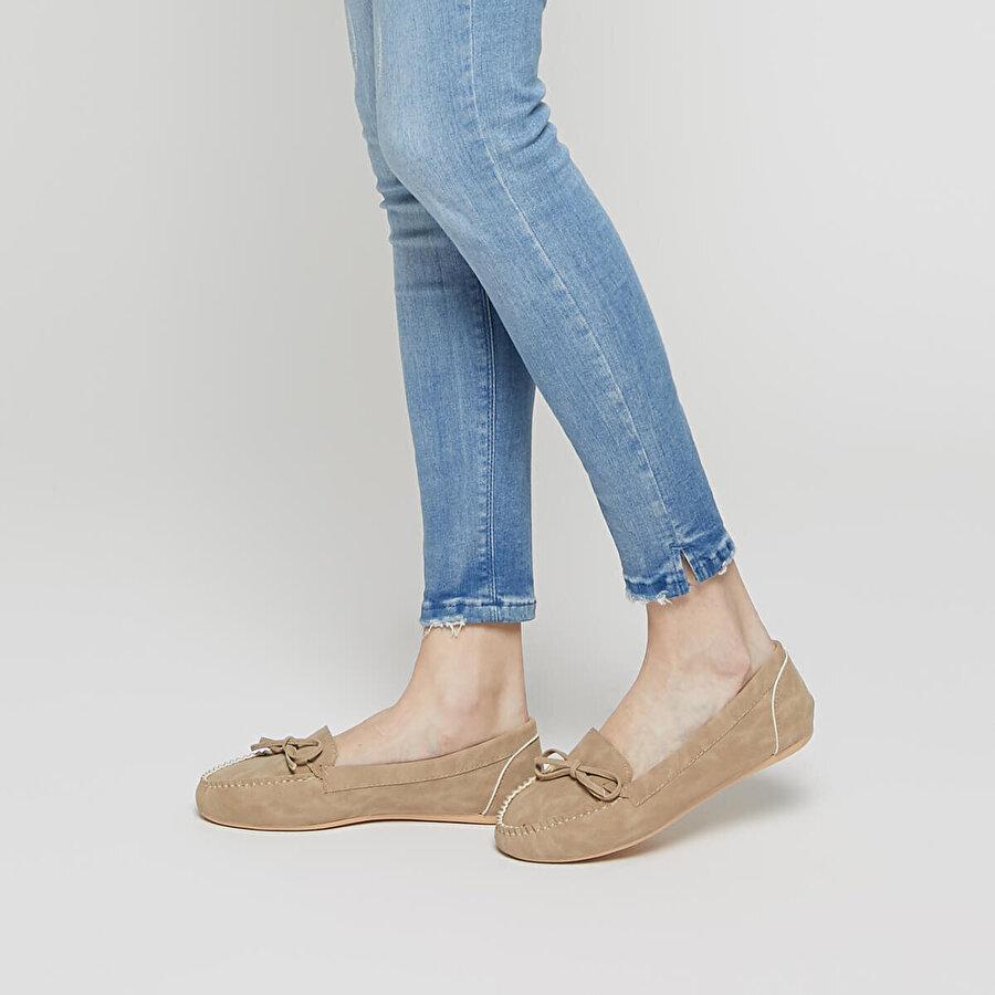 Miss F DS17031-19S Kum Rengi Kadın Loafer Ayakkabı