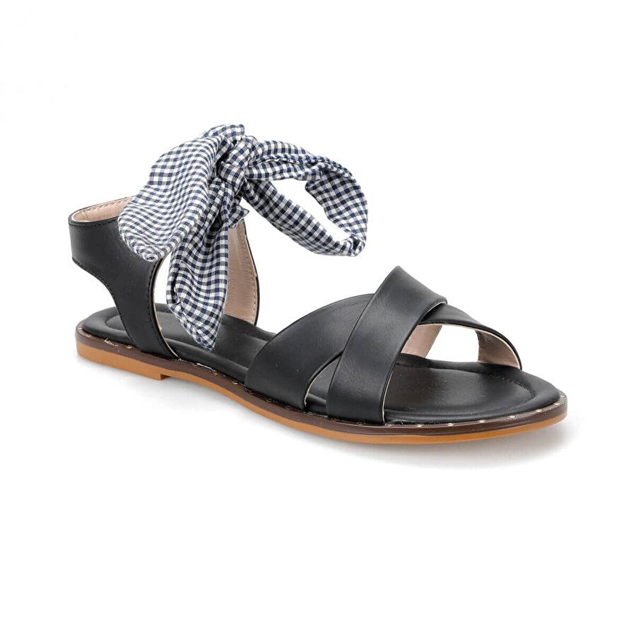 Miss F DS19103 Siyah Kadın Düz Sandalet