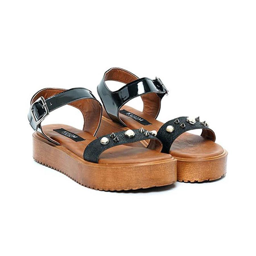 Kuum KZ2507-1 Siyah Kadın Sandalet