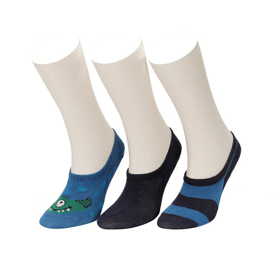 I Cool MONSTER 3 LU SUBA-B Mavi Erkek Çocuk Çorap