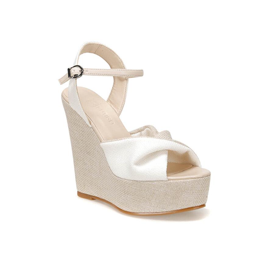 Butigo MERIH01Z Beyaz Kadın Dolgu Topuklu Sandalet