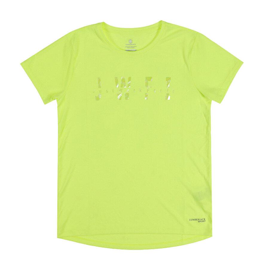 Lumberjack W-1828 TORY KK TSHIRT Neon Sarı Kadın T-Shirt