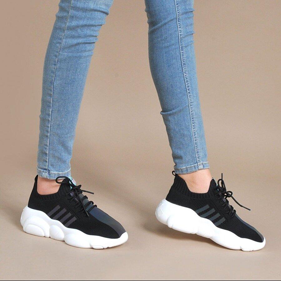 Vizon Ayakkabı Kadın  Siyah Sneaker VZN20-057Y