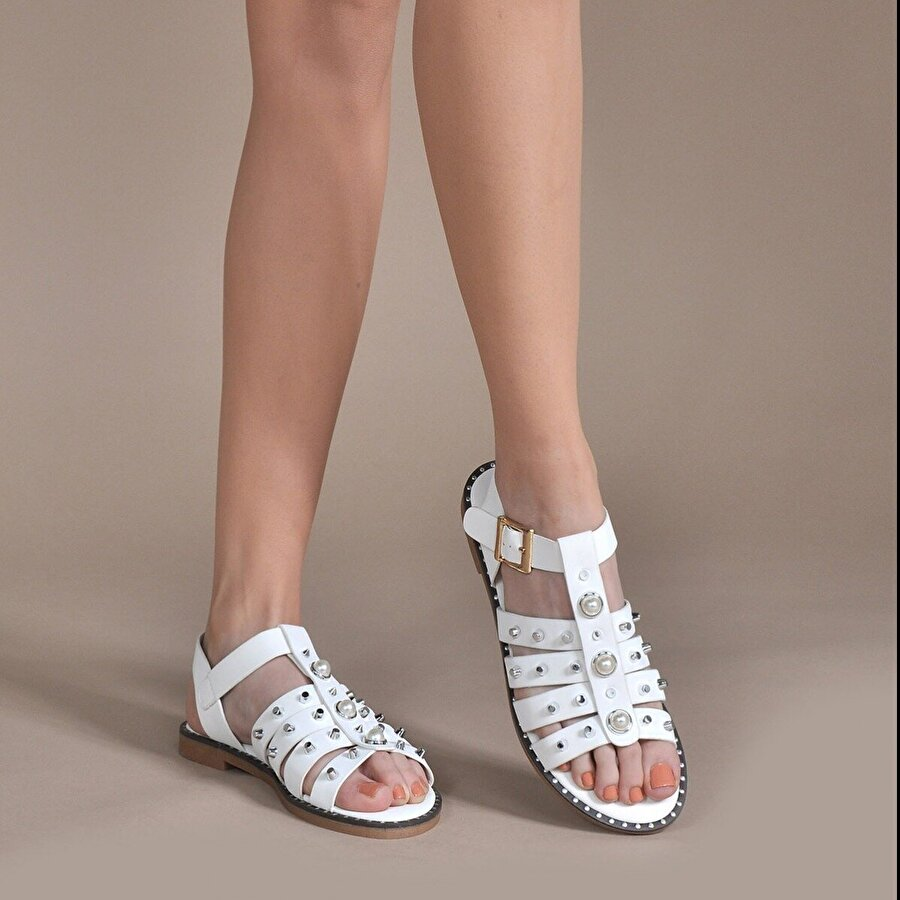 Vizon Ayakkabı Kadın  Beyaz Sandalet VZN-259Y