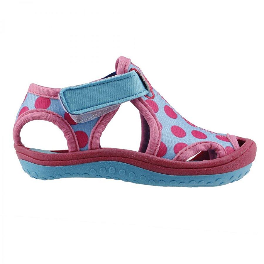 AYAKLAND Kids Puantiyeli Aqua Kız Çocuk  Sandalet Panduf Ayakkabı TURKUAZ